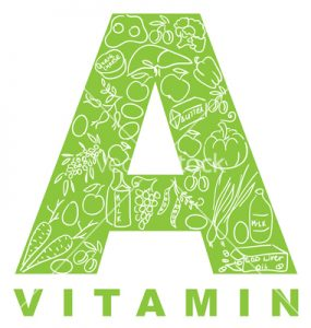 """Vitamin A. The form """"A"""" filled with meal."""